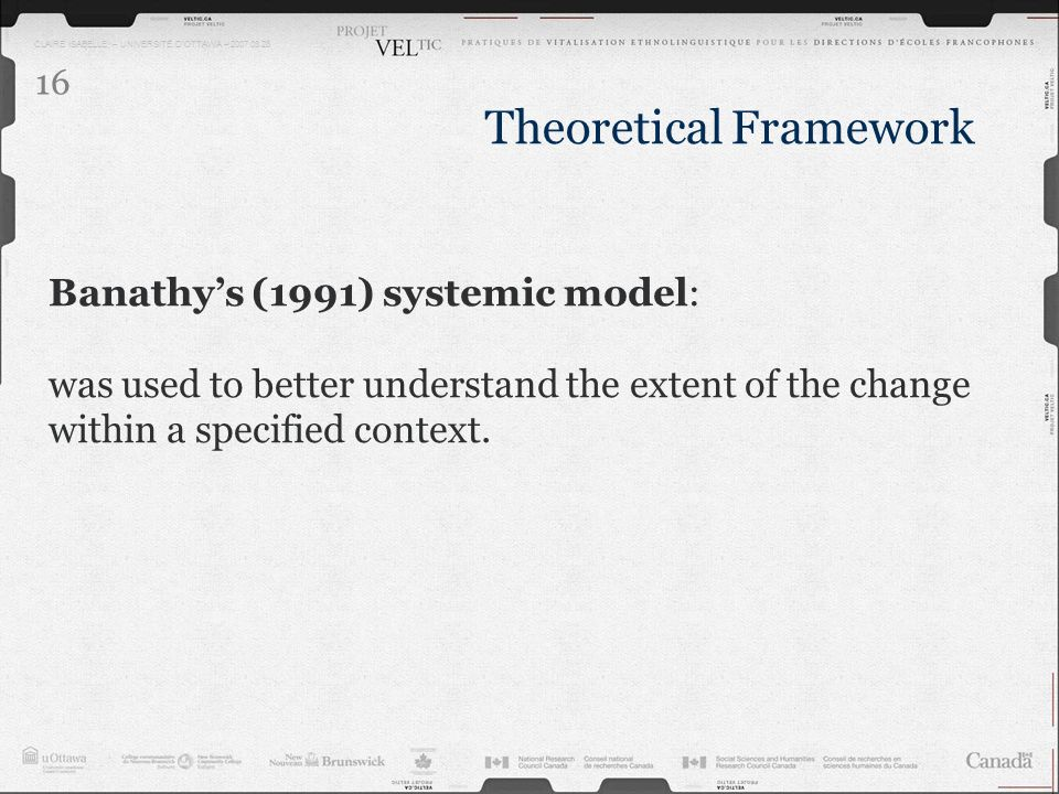 CLAIRE ISABELLE – UNIVERSITÉ DOTTAWA – 2007.03.28 16 Banathys (1991) systemic model: was used to better understand the extent of the change within a s