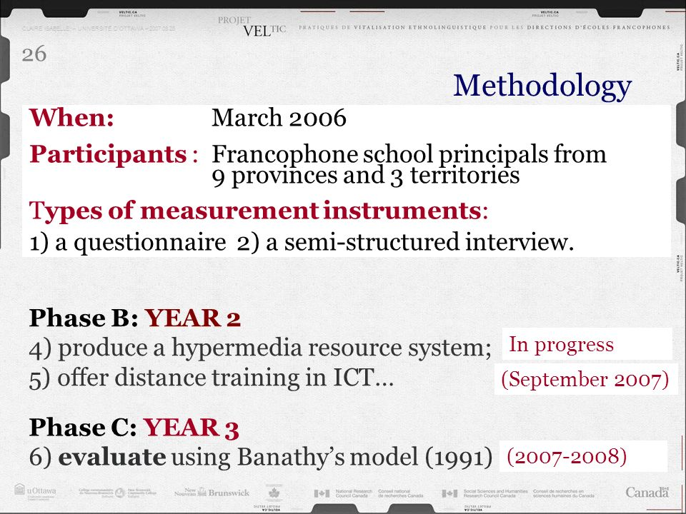 CLAIRE ISABELLE – UNIVERSITÉ DOTTAWA – 2007.03.28 26 Methodology Phase C: YEAR 3 6) evaluate using Banathys model (1991) Phase B: YEAR 2 4) produce a