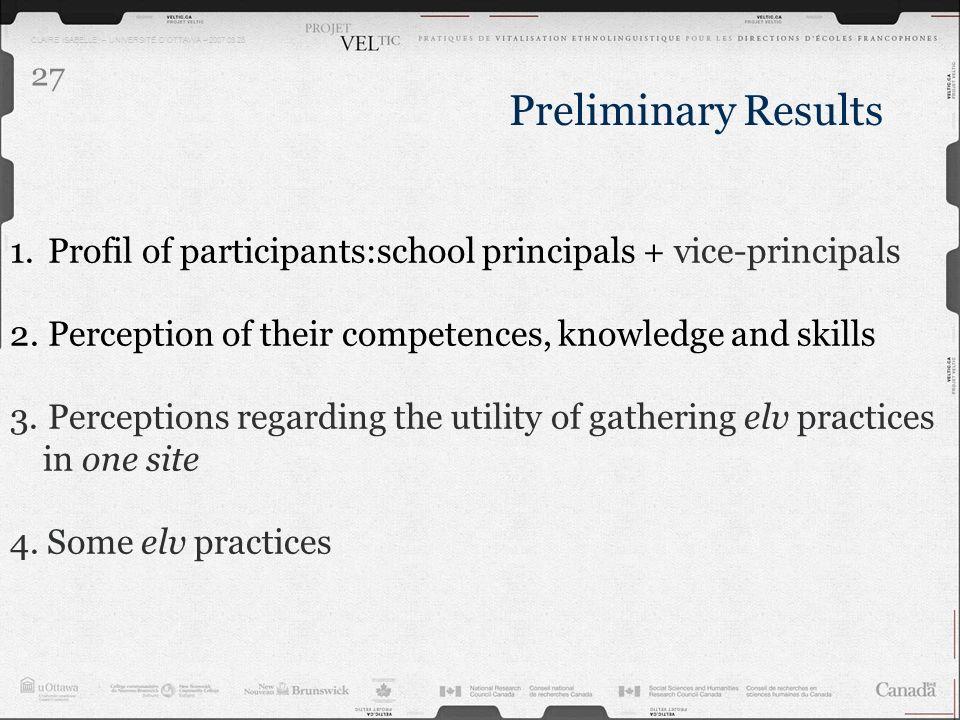 CLAIRE ISABELLE – UNIVERSITÉ DOTTAWA – 2007.03.28 27 1.Profil of participants:school principals + vice-principals 2.Perception of their competences, k