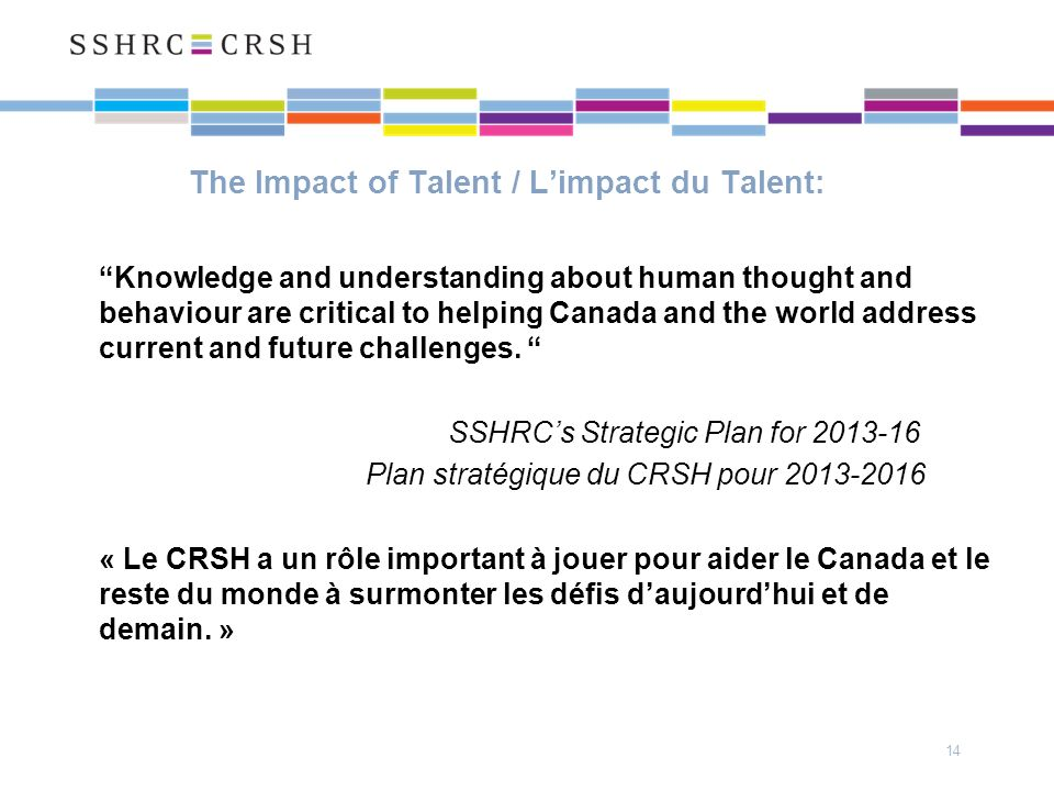 The Impact of Talent / Limpact du Talent: Knowledge and understanding about human thought and behaviour are critical to helping Canada and the world address current and future challenges.