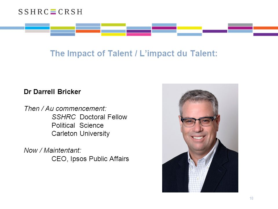 The Impact of Talent / Limpact du Talent: 18 Dr Darrell Bricker Then / Au commencement: SSHRC Doctoral Fellow Political Science Carleton University Now / Maintentant: CEO, Ipsos Public Affairs