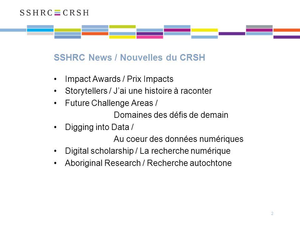 SSHRC News / Nouvelles du CRSH Impact Awards / Prix Impacts Storytellers / Jai une histoire à raconter Future Challenge Areas / Domaines des défis de