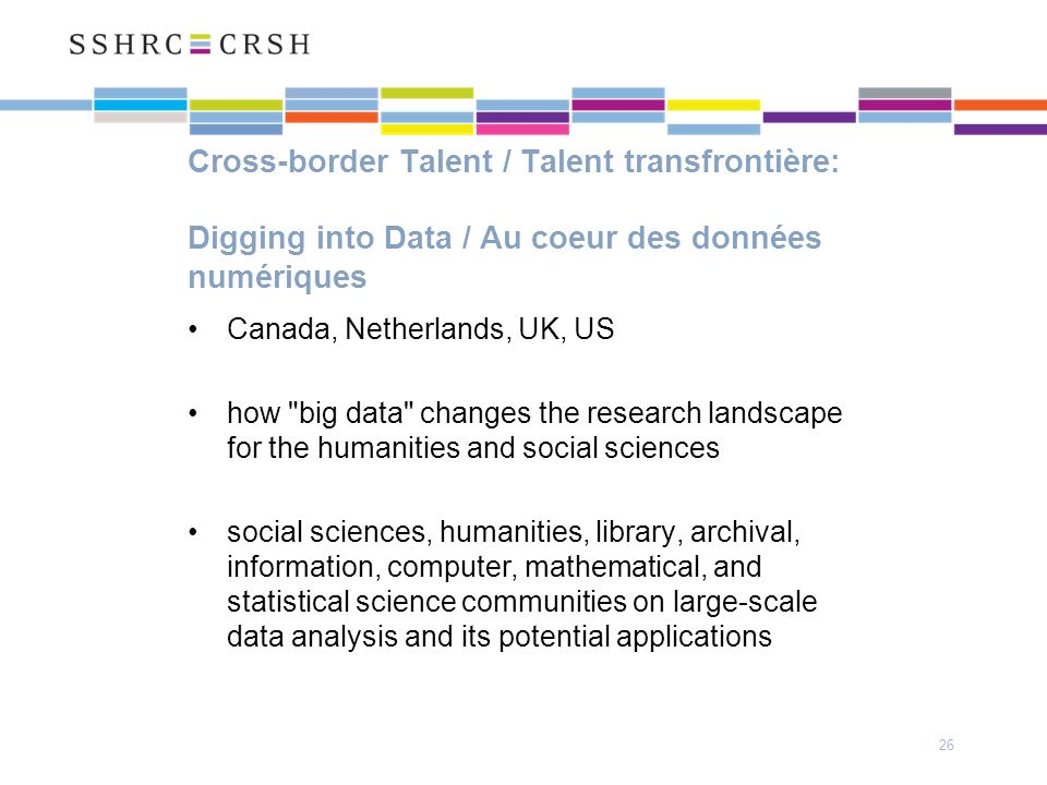 Cross-border Talent / Talent transfrontière: Digging into Data / Au coeur des données numériques Canada, Netherlands, UK, US how big data changes the research landscape for the humanities and social sciences social sciences, humanities, library, archival, information, computer, mathematical, and statistical science communities on large-scale data analysis and its potential applications 26