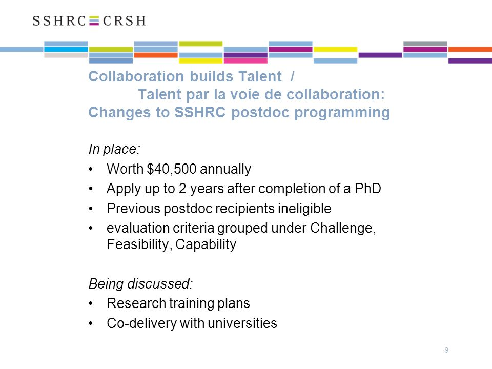 Collaboration builds Talent / Talent par la voie de collaboration: Changes to SSHRC postdoc programming In place: Worth $40,500 annually Apply up to 2 years after completion of a PhD Previous postdoc recipients ineligible evaluation criteria grouped under Challenge, Feasibility, Capability Being discussed: Research training plans Co-delivery with universities 9