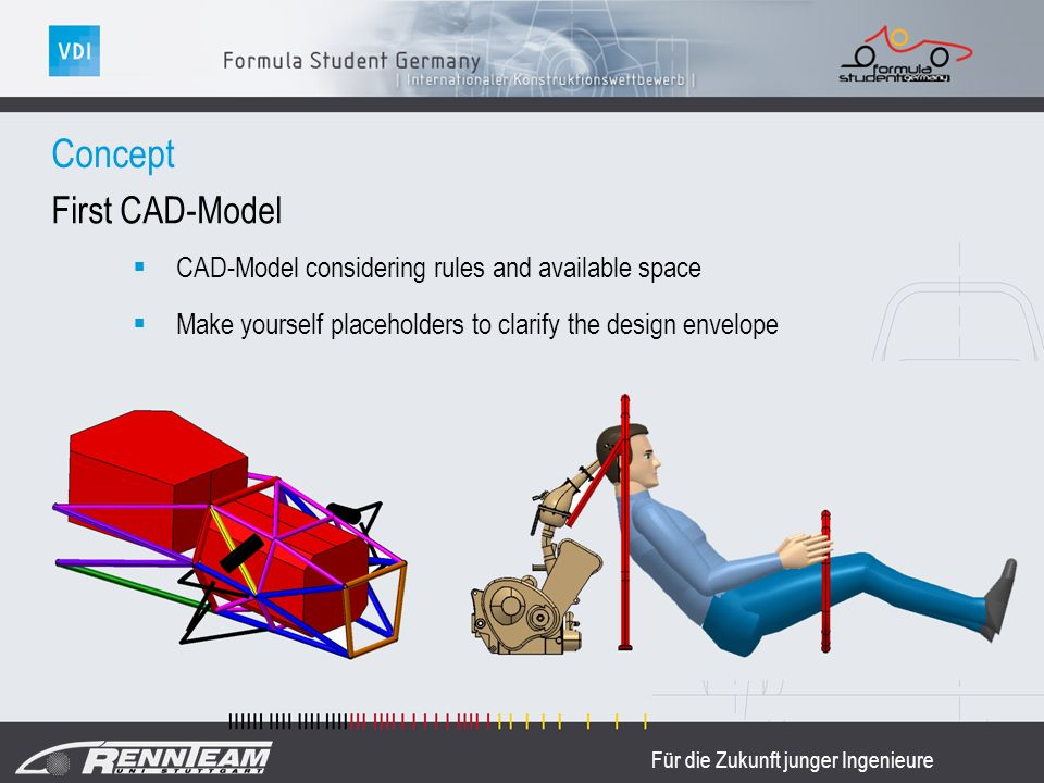 Für die Zukunft junger Ingenieure First CAD-Model CAD-Model considering rules and available space Make yourself placeholders to clarify the design envelope Concept