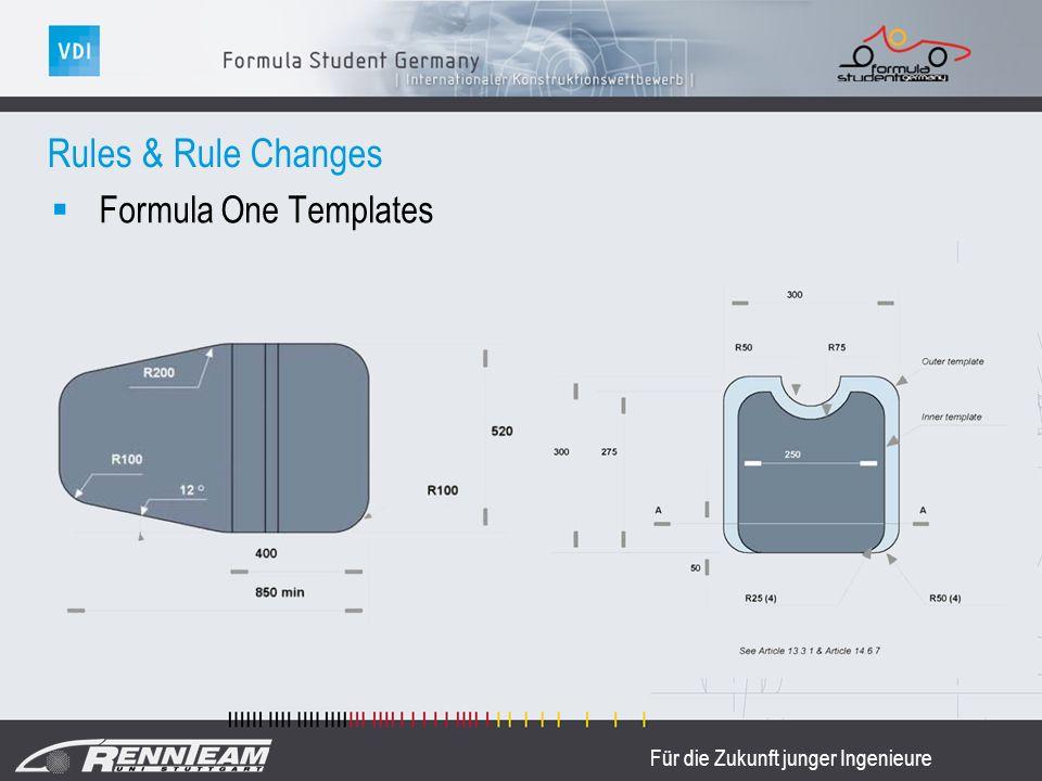 Für die Zukunft junger Ingenieure Formula One Templates Rules & Rule Changes