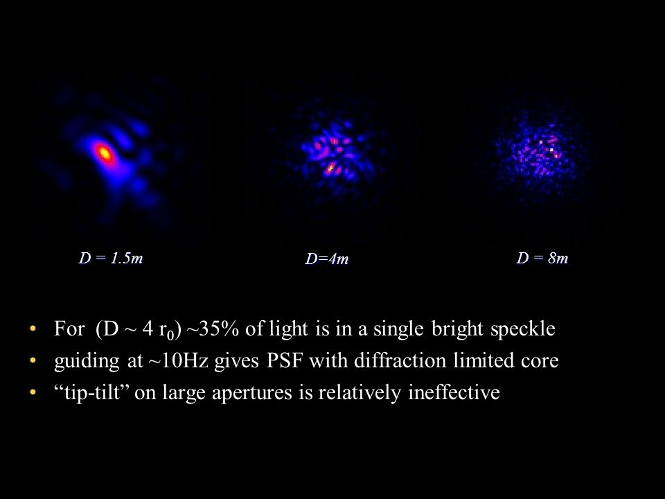 For (D ~ 4 r 0 ) ~35% of light is in a single bright speckle guiding at ~10Hz gives PSF with diffraction limited core tip-tilt on large apertures is r