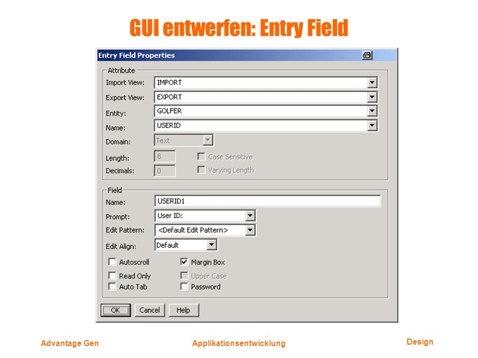 Design Advantage GenApplikationsentwicklung GUI entwerfen: Entry Field