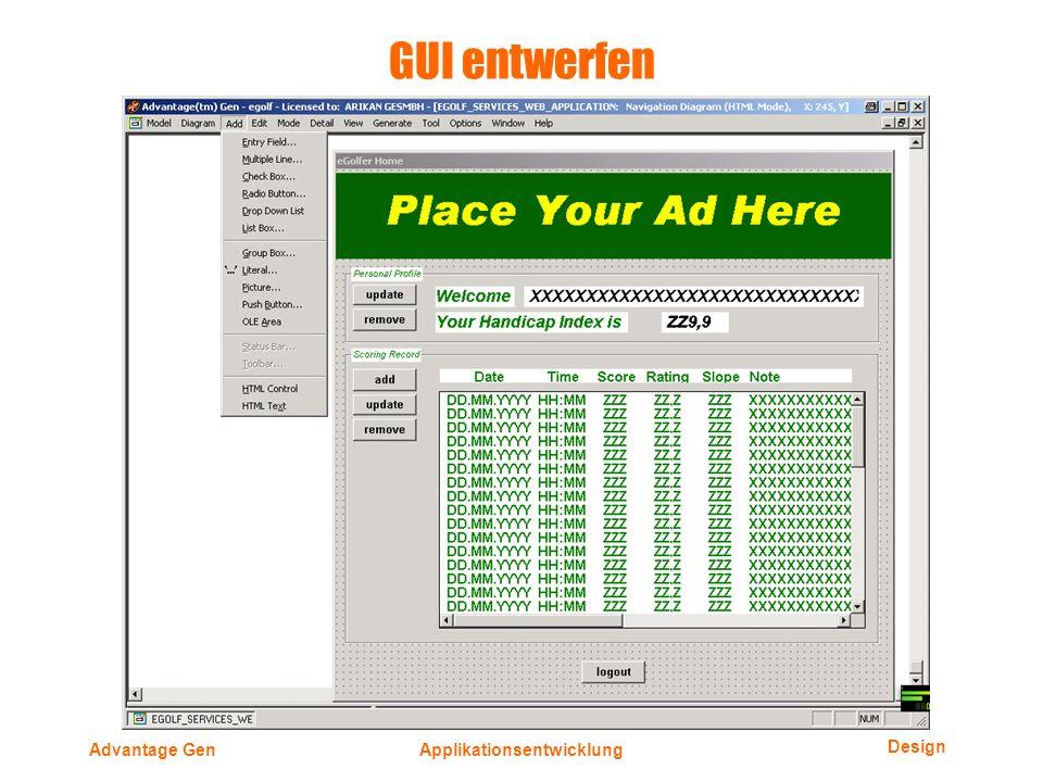 Design Advantage GenApplikationsentwicklung GUI entwerfen