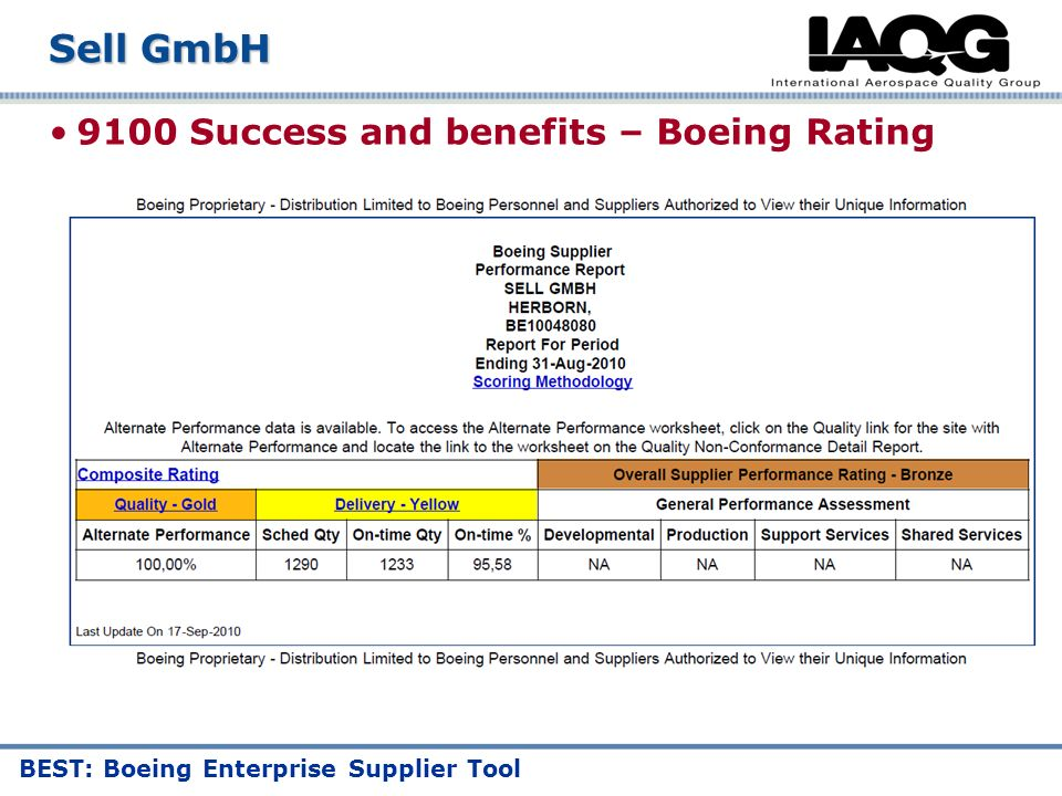 9100 Success and benefits – Boeing Rating Sell GmbH BEST: Boeing Enterprise Supplier Tool