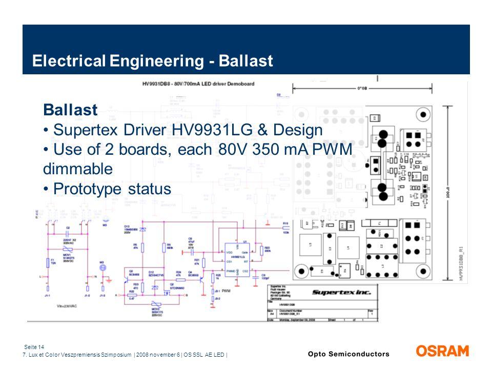 Seite 14 7. Lux et Color Veszpremiensis Szimposium | 2008 november 6 | OS SSL AE LED | Electrical Engineering - Ballast Ballast Supertex Driver HV9931