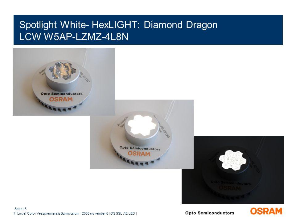 Seite 16 7. Lux et Color Veszpremiensis Szimposium | 2008 november 6 | OS SSL AE LED | Spotlight White- HexLIGHT: Diamond Dragon LCW W5AP-LZMZ-4L8N