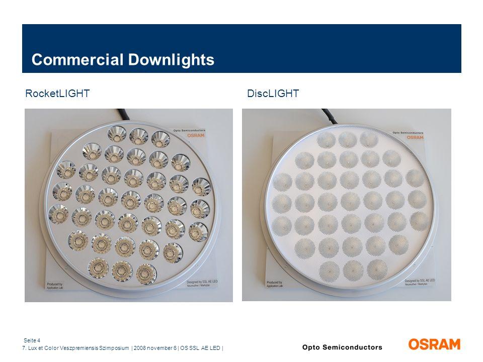 Seite 4 7. Lux et Color Veszpremiensis Szimposium | 2008 november 6 | OS SSL AE LED | Commercial Downlights RocketLIGHT DiscLIGHT