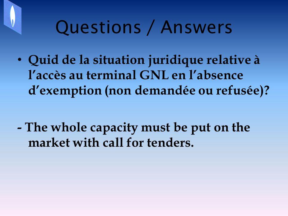 Questions / Answers Quid de la situation juridique relative à laccès au terminal GNL en labsence dexemption (non demandée ou refusée).