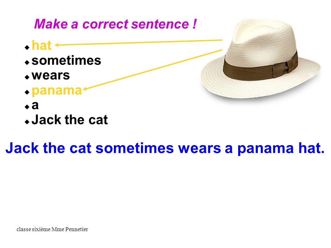 classe sixième Mme Pennetier hat sometimes wears panama a Jack the cat Make a correct sentence .