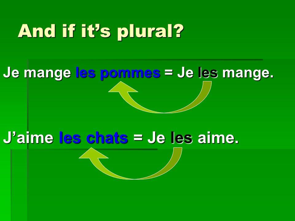 And if its plural Je mange les pommes = Je les mange. Jaime les chats = Je les aime.