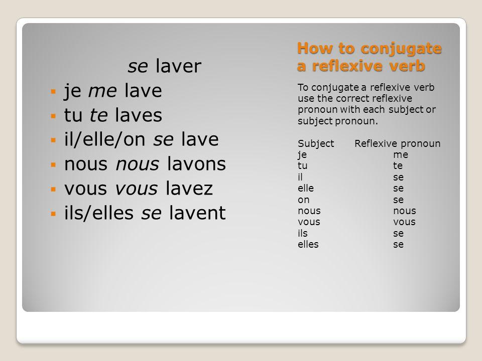 How to conjugate a reflexive verb To conjugate a reflexive verb use the correct reflexive pronoun with each subject or subject pronoun. Subject Reflex