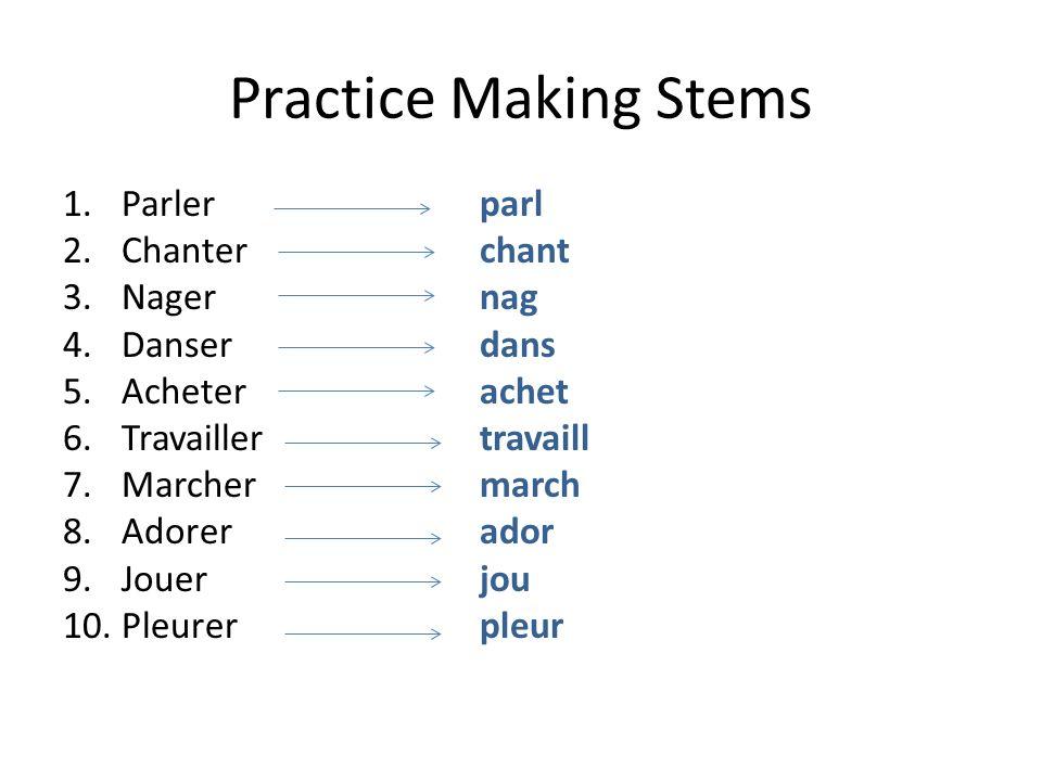 Practice Making Stems 1.Parlerparl 2.Chanterchant 3.Nagernag 4.Danserdans 5.Acheterachet 6.Travaillertravaill 7.Marchermarch 8.Adorerador 9.Jouerjou 1