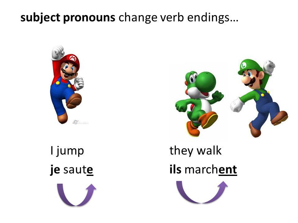 subject pronouns change verb endings… I jumpthey walk je sauteils marchent