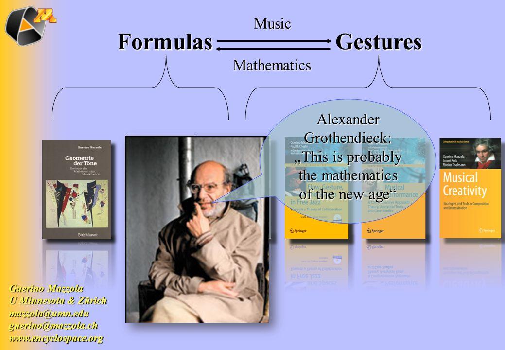 Formulas Gestures Formulas GesturesMusic Mathematics Guerino Mazzola U Minnesota & Zürich mazzola@umn.edu mazzola@umn.edu guerino@mazzola.ch www.encyc