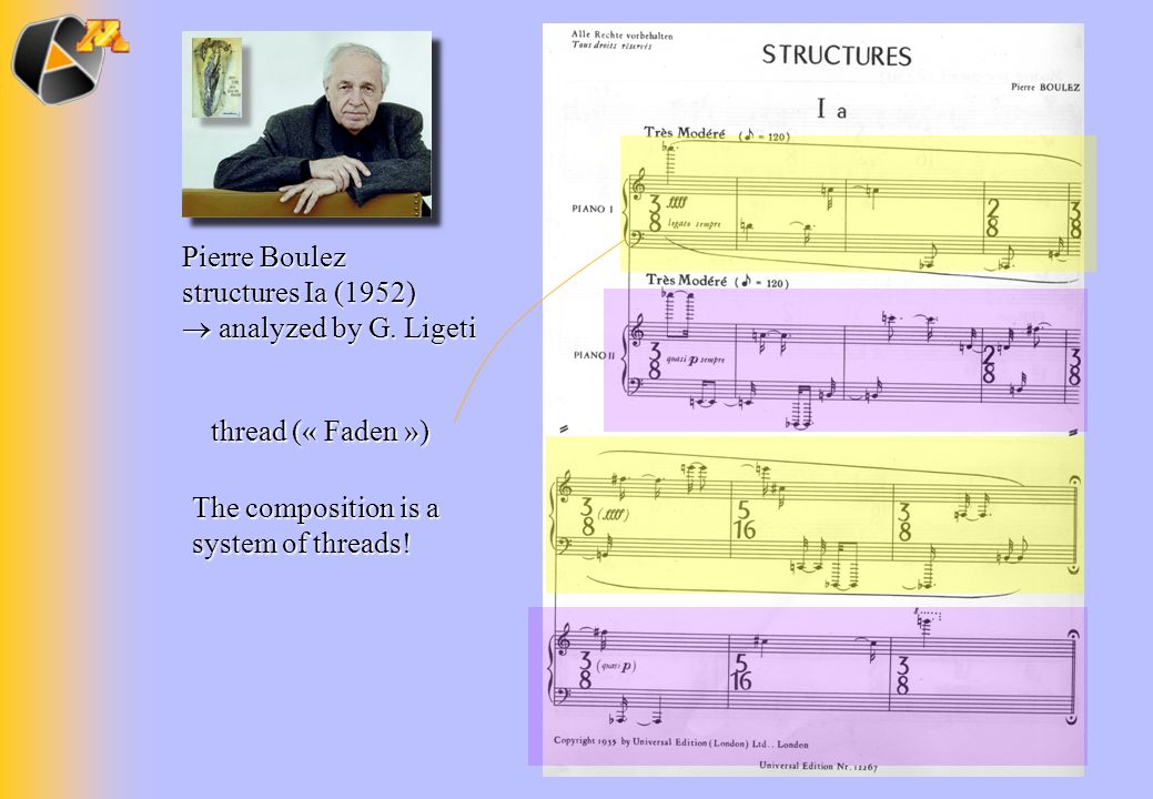 Pierre Boulez structures Ia (1952) analyzed by G. Ligeti analyzed by G. Ligeti thread (« Faden ») The composition is a system of threads!