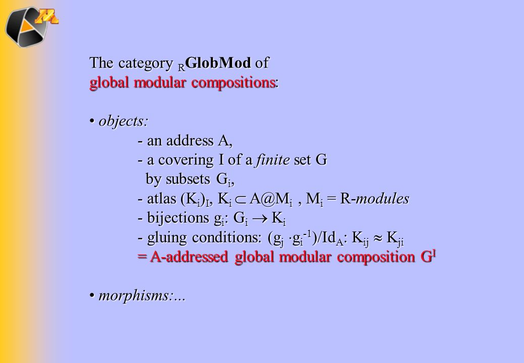 The category R GlobMod of global modular compositions: objects: objects: - an address A, - a covering I of a finite set G by subsets G i, - atlas (K i