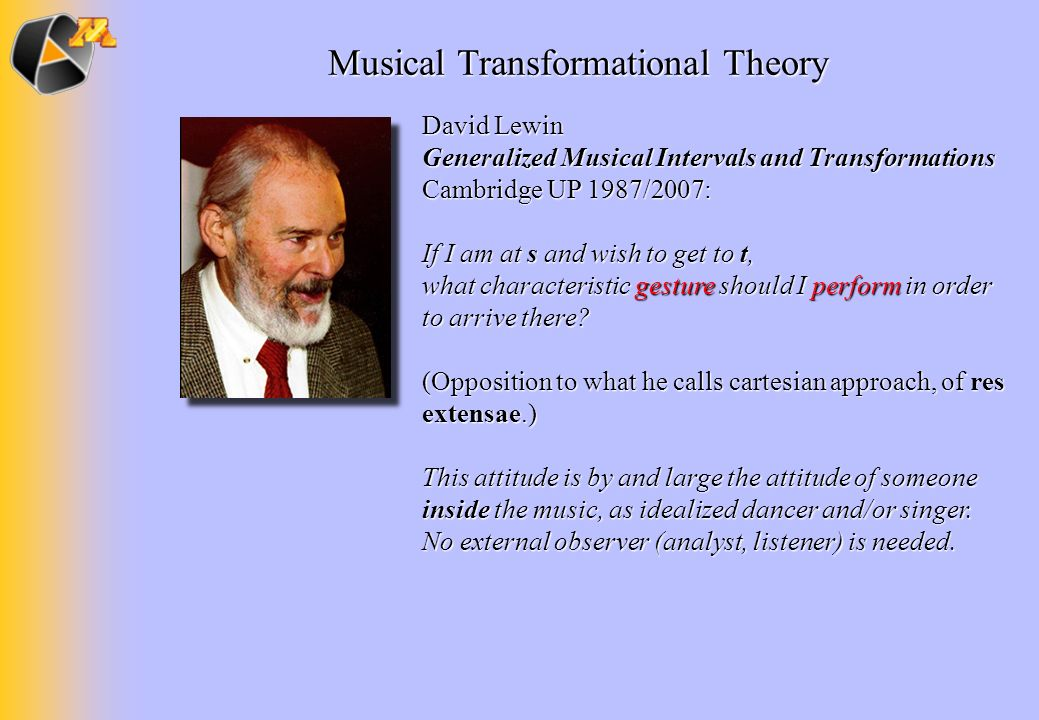 David Lewin Generalized Musical Intervals and Transformations Cambridge UP 1987/2007: If I am at s and wish to get to t, what characteristic gesture s