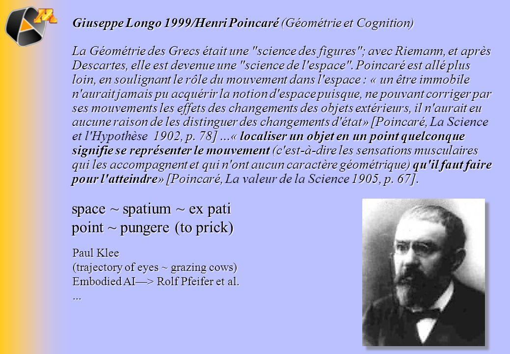 Giuseppe Longo 1999/Henri Poincaré (Géométrie et Cognition) La Géométrie des Grecs était une
