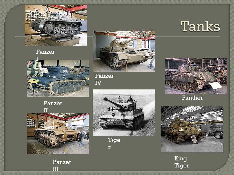 Panzer I Panzer II Panzer III Panzer IV Tige r Panther King Tiger