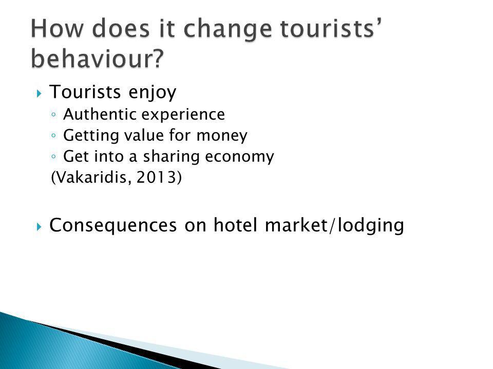 Tourists enjoy Authentic experience Getting value for money Get into a sharing economy (Vakaridis, 2013) Consequences on hotel market/lodging