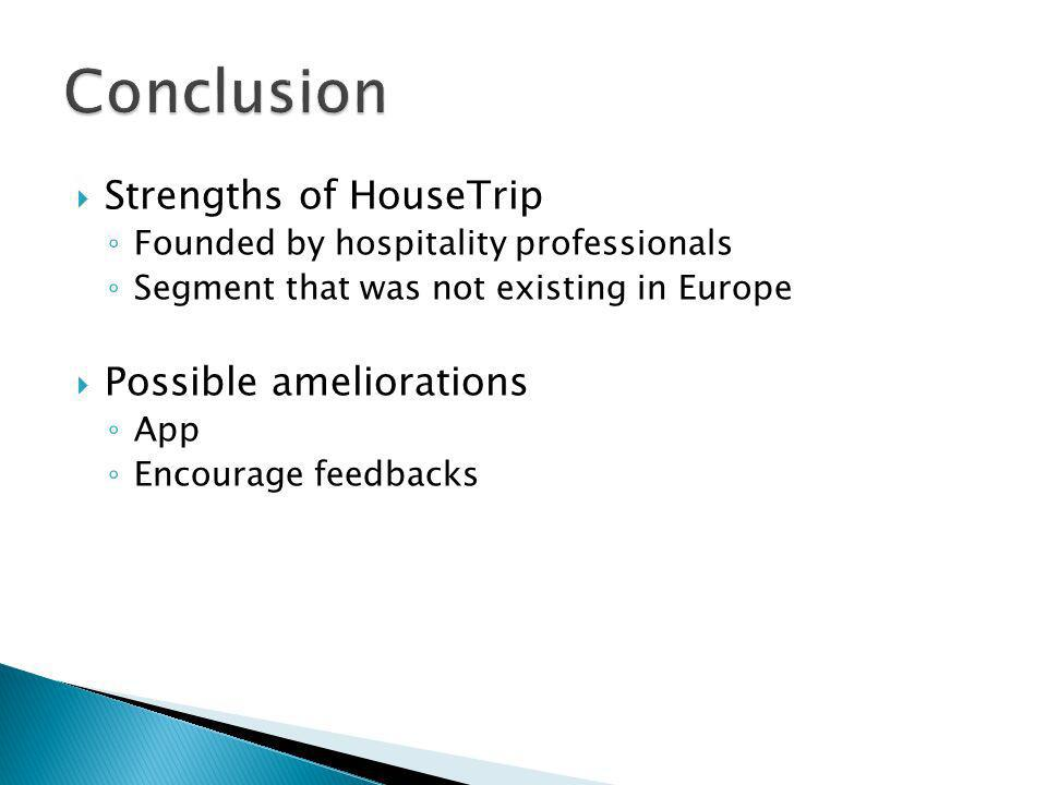 Strengths of HouseTrip Founded by hospitality professionals Segment that was not existing in Europe Possible ameliorations App Encourage feedbacks