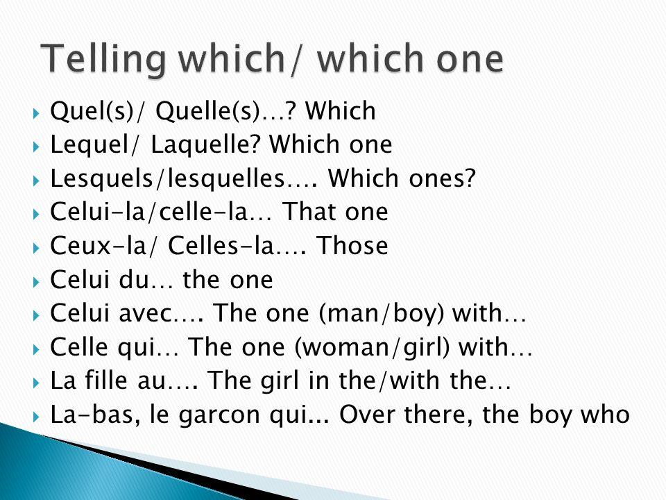 Quel(s)/ Quelle(s)…? Which Lequel/ Laquelle? Which one Lesquels/lesquelles…. Which ones? Celui-la/celle-la… That one Ceux-la/ Celles-la…. Those Celui