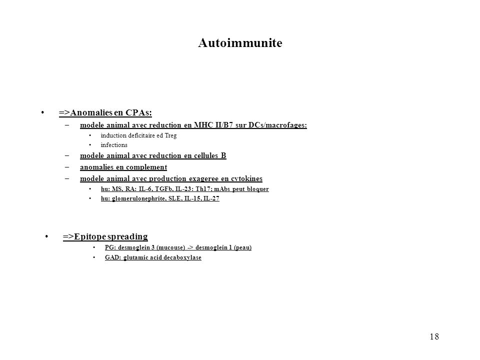 18 Autoimmunite =>Anomalies en CPAs: –modele animal avec reduction en MHC II/B7 sur DCs/macrofages: induction deficitaire ed Treg infections –modele a