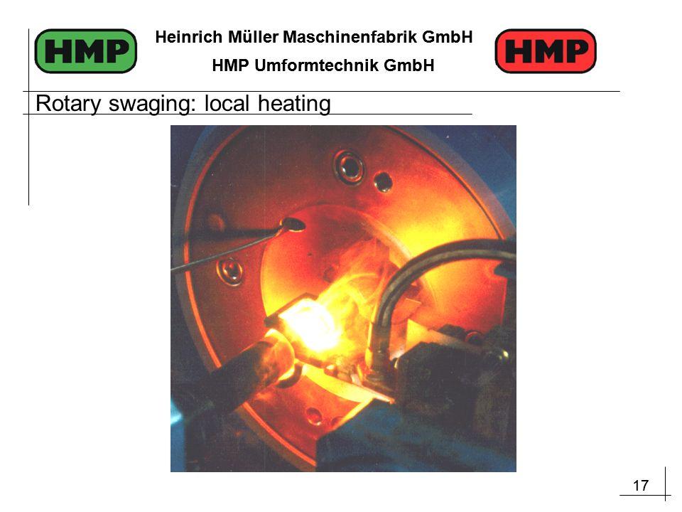 17 Heinrich Müller Maschinenfabrik GmbH HMP Umformtechnik GmbH 17 Heinrich Müller Maschinenfabrik GmbH HMP Umformtechnik GmbH Rotary swaging: local heating