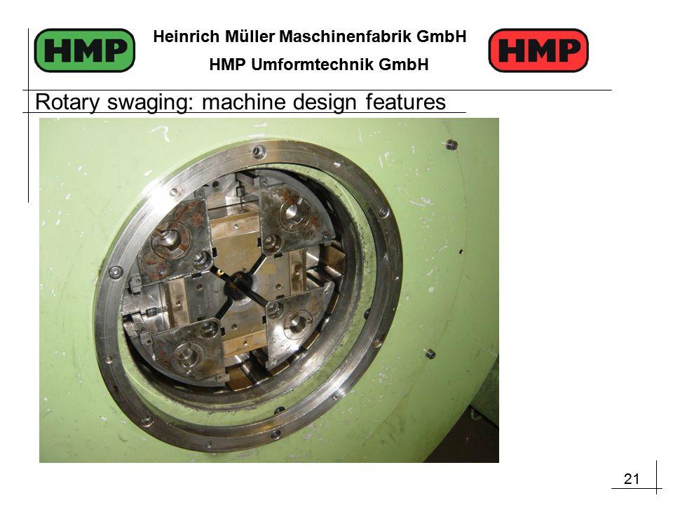 21 Heinrich Müller Maschinenfabrik GmbH HMP Umformtechnik GmbH 21 Heinrich Müller Maschinenfabrik GmbH HMP Umformtechnik GmbH Rotary swaging: machine design features