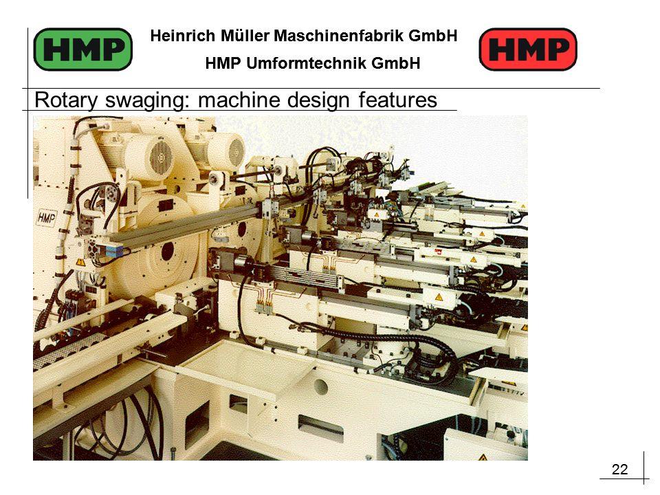 22 Heinrich Müller Maschinenfabrik GmbH HMP Umformtechnik GmbH 22 Heinrich Müller Maschinenfabrik GmbH HMP Umformtechnik GmbH Rotary swaging: machine design features