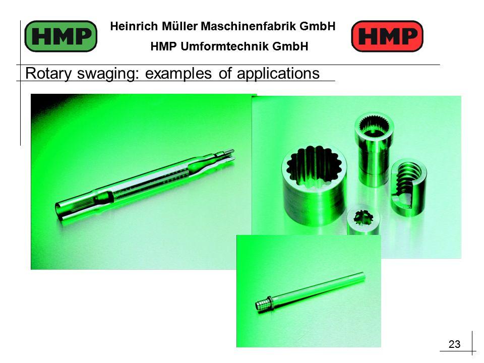 23 Heinrich Müller Maschinenfabrik GmbH HMP Umformtechnik GmbH 23 Heinrich Müller Maschinenfabrik GmbH HMP Umformtechnik GmbH Rotary swaging: examples of applications