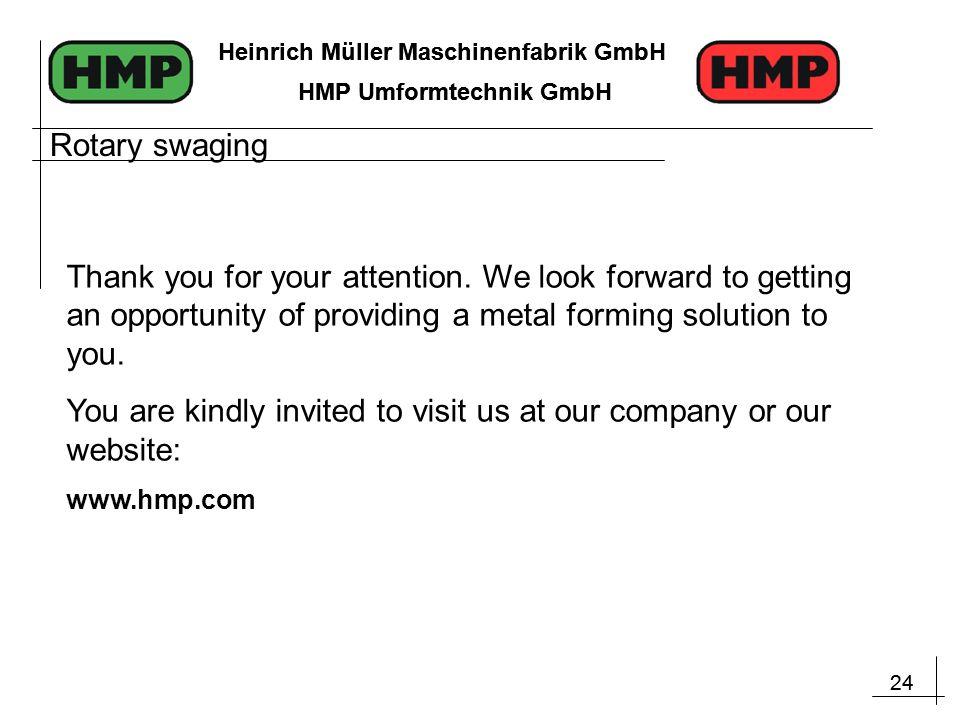 24 Heinrich Müller Maschinenfabrik GmbH HMP Umformtechnik GmbH 24 Heinrich Müller Maschinenfabrik GmbH HMP Umformtechnik GmbH Rotary swaging Thank you for your attention.