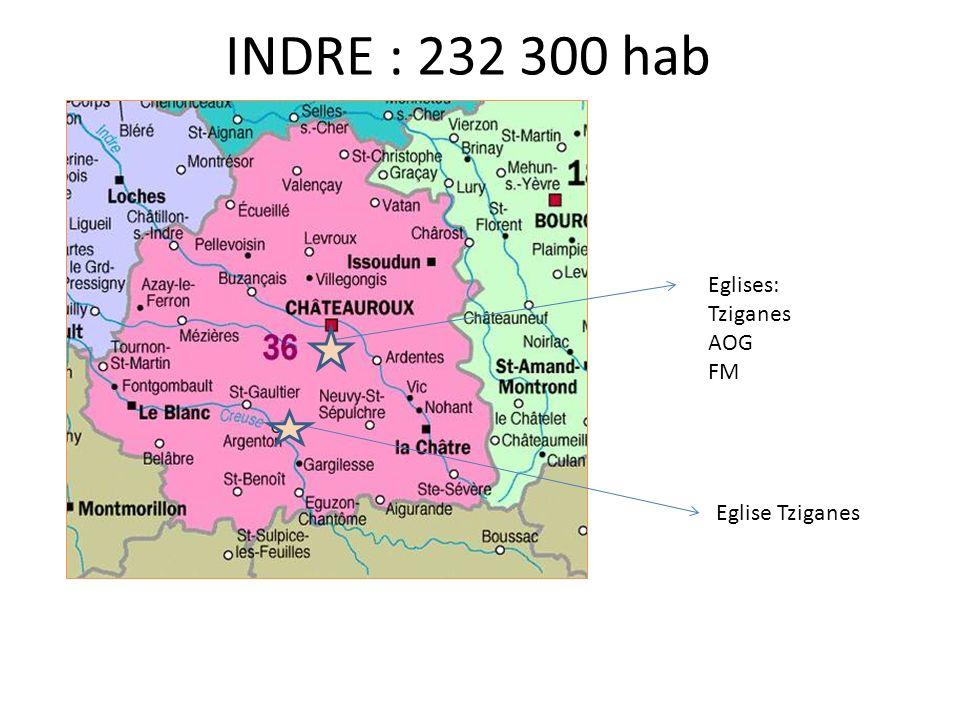 INDRE : 232 300 hab Eglises: Tziganes AOG FM Eglise Tziganes