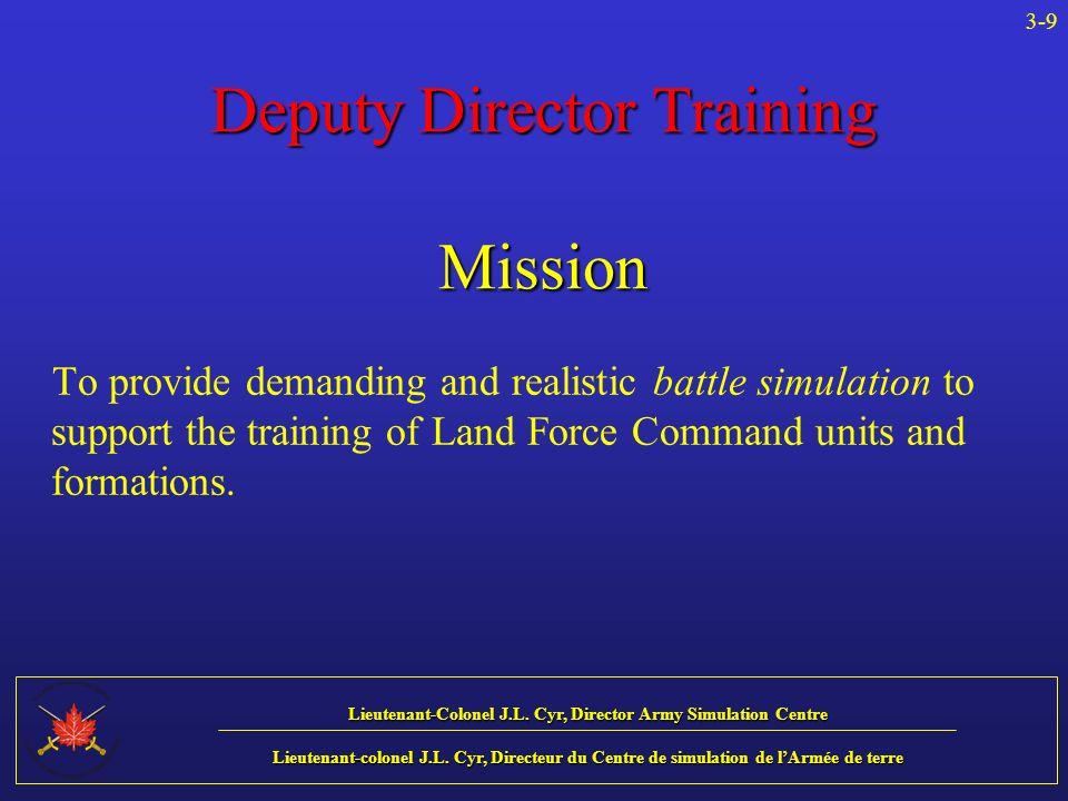 Lieutenant-Colonel J.L. Cyr, Director Army Simulation Centre Lieutenant-colonel J.L.