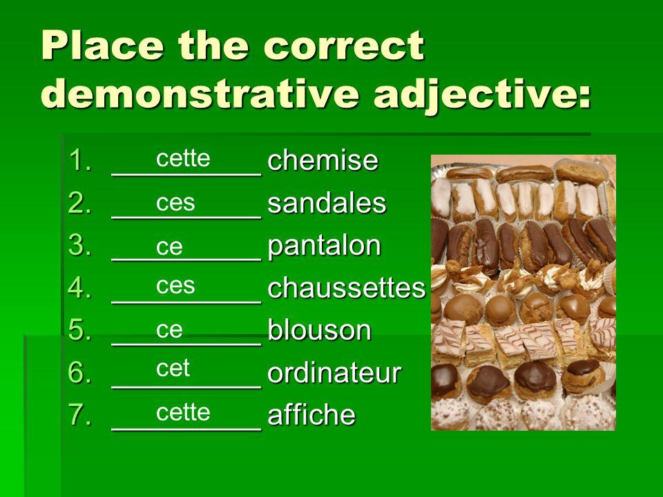 Place the correct demonstrative adjective: 1._________ chemise 2._________ sandales 3._________ pantalon 4._________ chaussettes 5._________ blouson 6._________ ordinateur 7._________ affiche cette ces ce ces ce cet cette