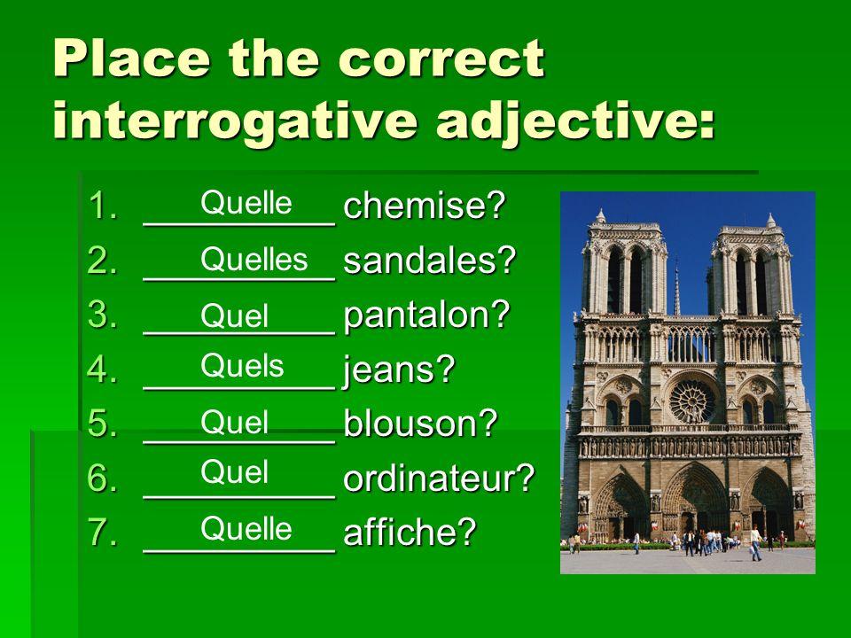 Place the correct interrogative adjective: 1._________ chemise.