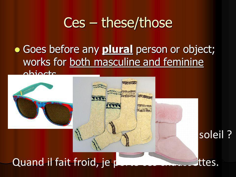 Ces – these/those Goes before any plural person or object; works for both masculine and feminine objects Goes before any plural person or object; work