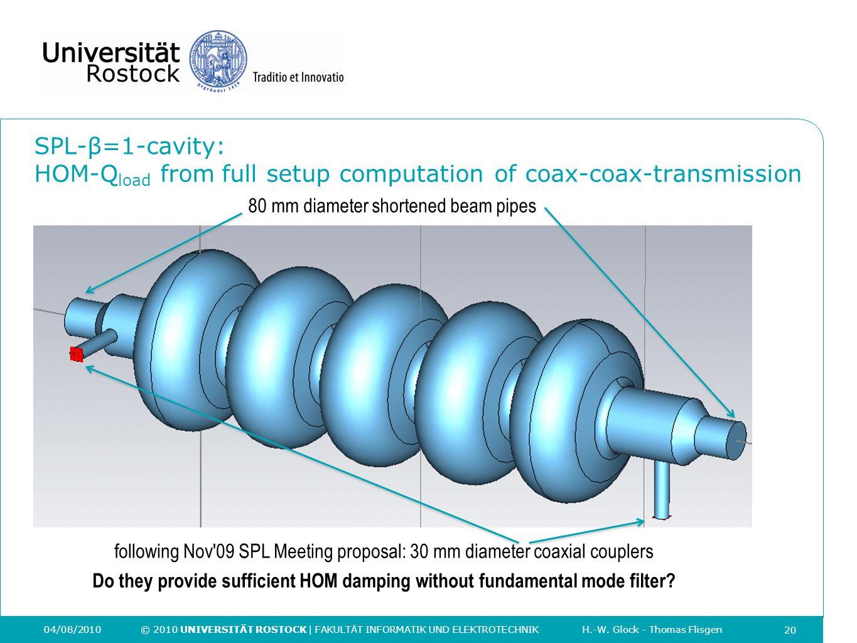 20 04/08/2010 © 2010 UNIVERSITÄT ROSTOCK | FAKULTÄT INFORMATIK UND ELEKTROTECHNIK H.-W. Glock - Thomas Flisgen SPL-β=1-cavity: HOM-Q load from full se