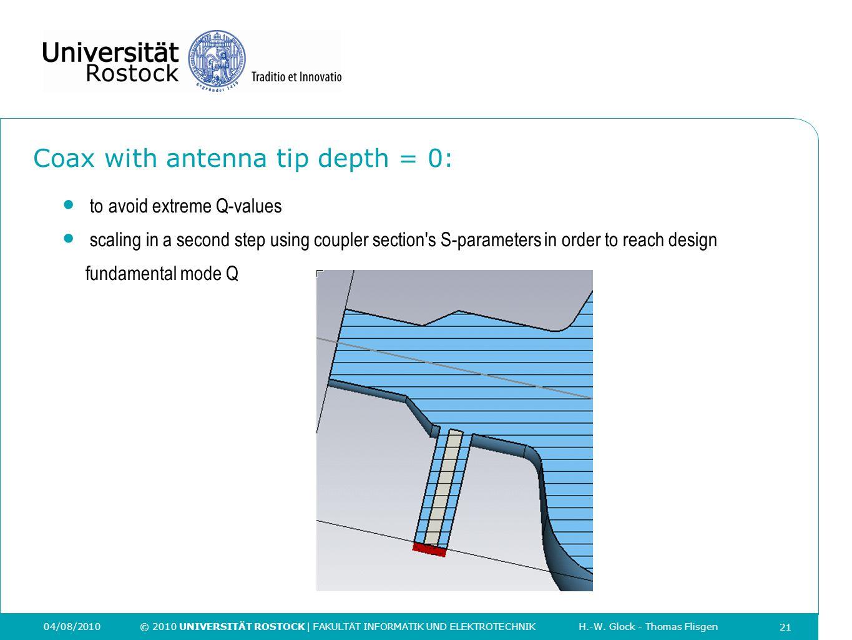 21 04/08/2010 © 2010 UNIVERSITÄT ROSTOCK | FAKULTÄT INFORMATIK UND ELEKTROTECHNIK H.-W. Glock - Thomas Flisgen Coax with antenna tip depth = 0: 21 to
