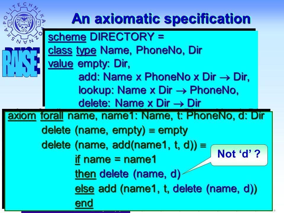 J. Nawrocki, Models & Analysis (2) An axiomatic specification scheme DIRECTORY = class type Name, PhoneNo, Dir value empty: Dir, add: Name x PhoneNo x
