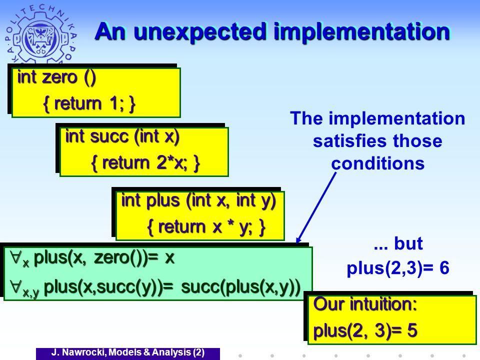 J. Nawrocki, Models & Analysis (2) An unexpected implementation x plus(x, zero())= x x plus(x, zero())= x x,y plus(x,succ(y))= succ(plus(x,y)) x,y plu