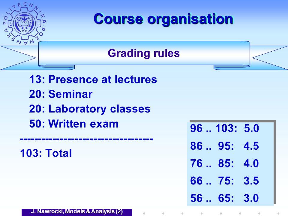 J. Nawrocki, Models & Analysis (2) Course organisation 13: Presence at lectures 20: Seminar 20: Laboratory classes 50: Written exam ------------------