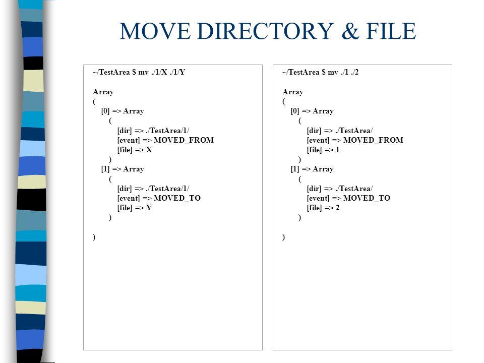 ATTRIB DIRECTORY & FILE ~/TestArea $ chmod 777./1 Array ( [0] => Array ( [dir] =>./TestArea/ [event] => ATTRIB [file] => 1 ) ~/TestArea $ chmod 777./1/X Array ( [0] => Array ( [dir] =>./TestArea/1/ [event] => ATTRIB [file] => X )