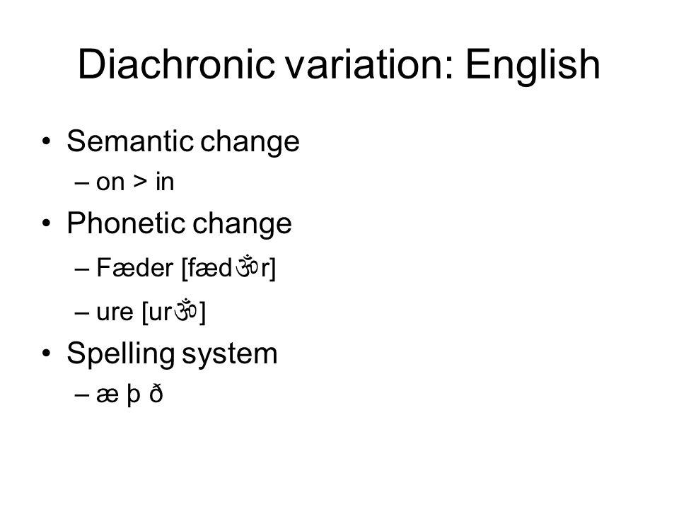 Diachronic variation: English Semantic change –on > in Phonetic change –Fæder [fæd r] –ure [ur ] Spelling system –æ þ ð